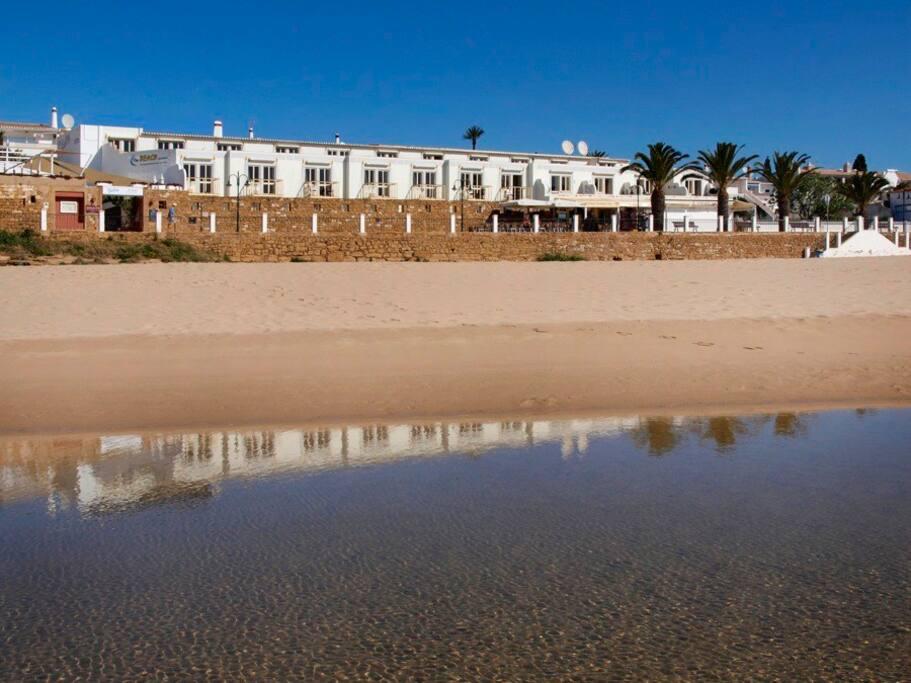 Location of our beach apartments right on the beach front in Praia da Luz.