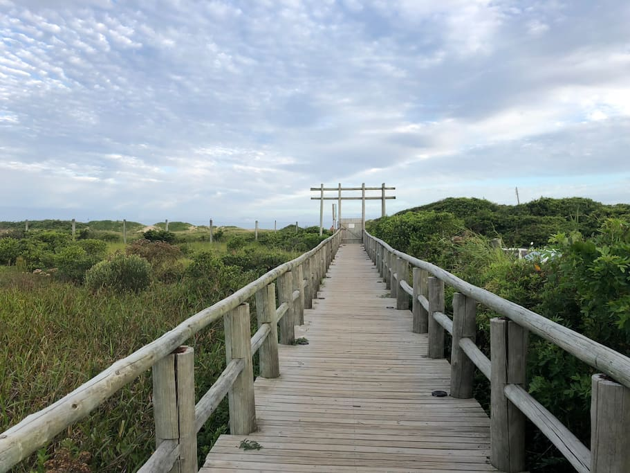Private boardwalk goes from our condo all the way to the beach.