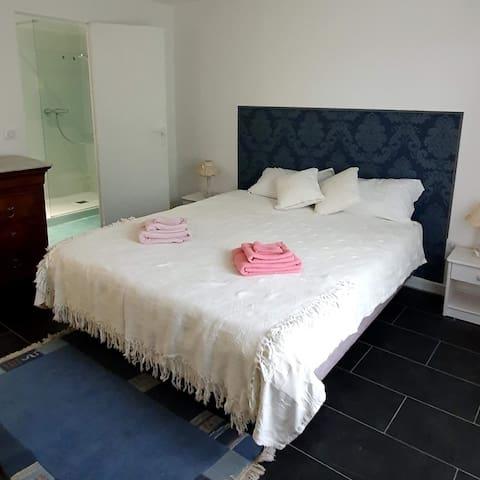 Chambre Matisse avec son lit en 160 et sa sdb privé.