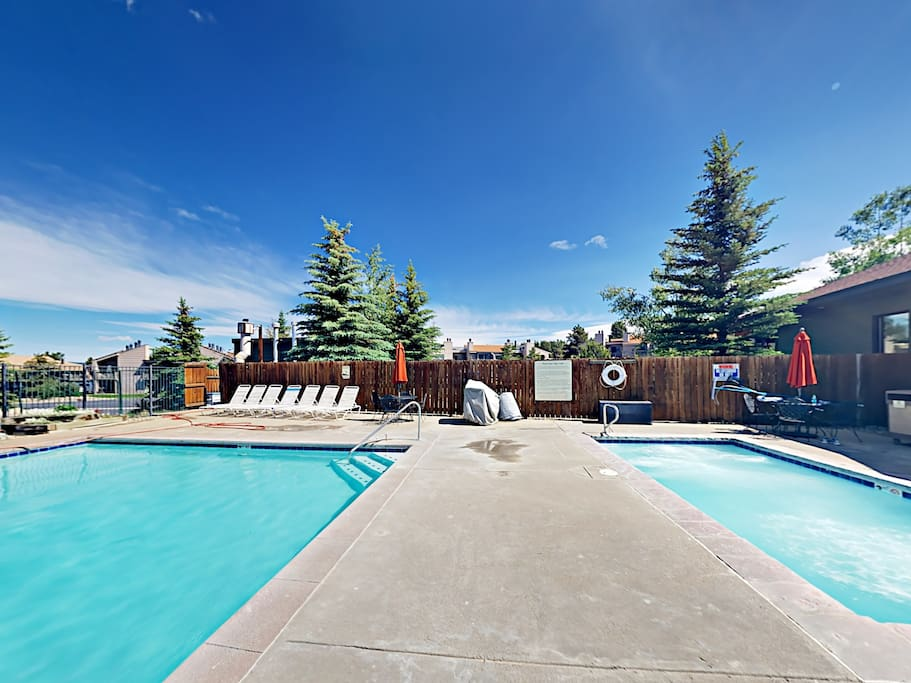 Relax around the outdoor heated pool and hot tub.