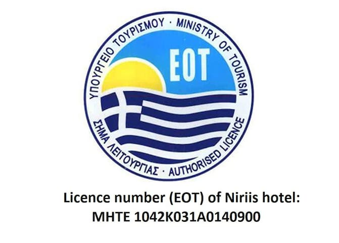 Licence number (EOT) of Niriis hotel: MHTE 1042K031A0140900