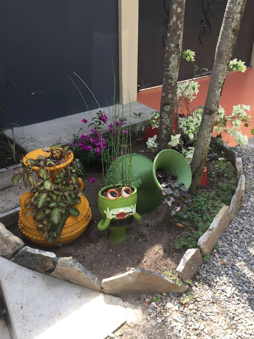 Front gate view. The happy welcome frog