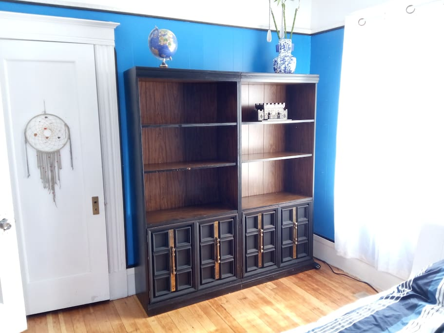 2 large bookshelves with drawers to hold your belongings