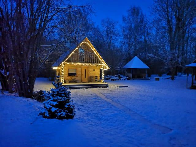 Log cabin with sauna