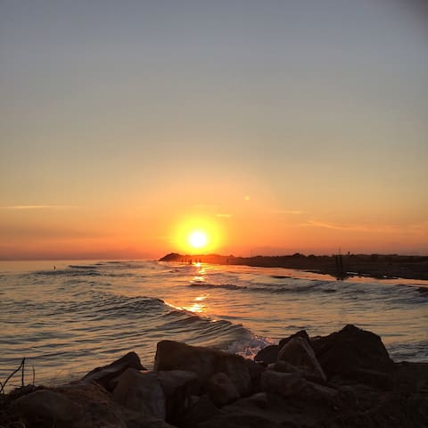 Coucher de soleil vu de la plage (Juillet 2017)