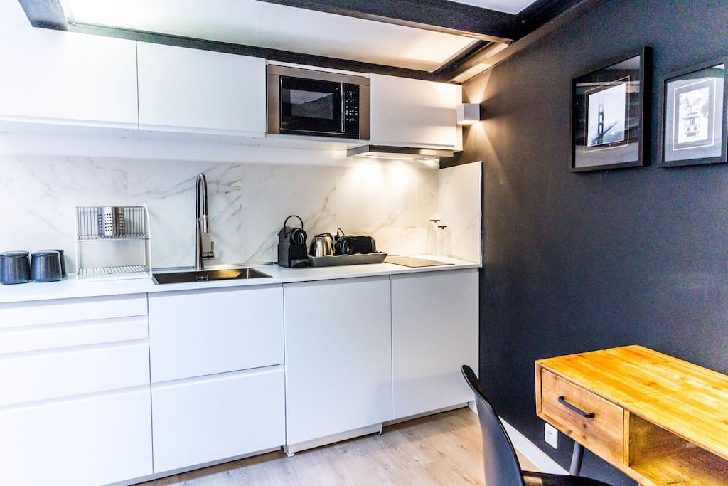 Equipped open plan kitchen