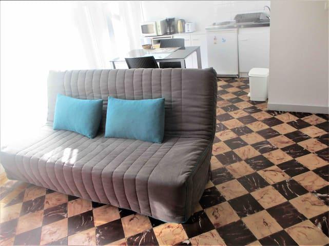 canapé lit 130x190, ouverture clic clac
