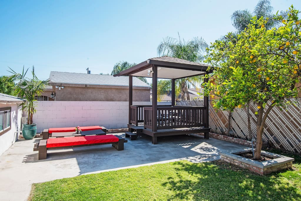 Large backyard with seating to enjoy the sun! Feel free to pick fresh lemons from the tree!