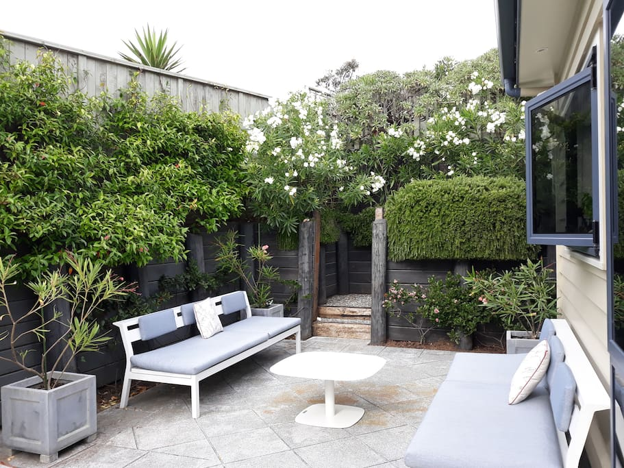 A sheltered courtyard for 'anytime' drinks or  meals