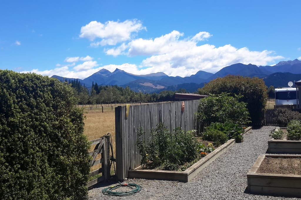 Looking over a potager garden to the Richmond Ranges beyond