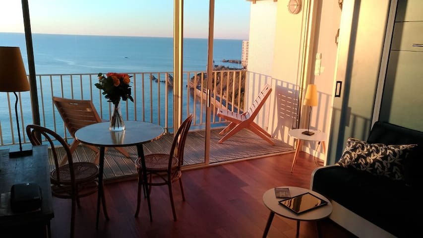 STUDIO WITH BALCONY- WONDERFUL VIEW OVER COTE DES BASQUES BEACH- BIARRITZ