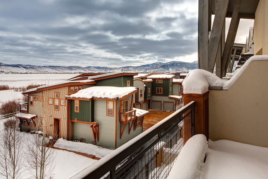 A view of the Newpark community and the mountains from your balcony.