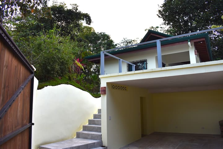 Covered parking and lighted stairway up to the villa.  The terrace above the garage is perfect for yoga.  Two yoga mats are available in the bedroom closet.