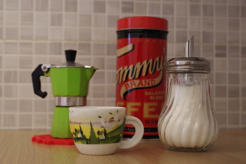Breakfast with classic Italian coffee made by a moka