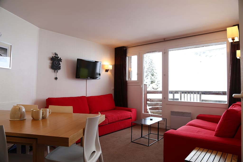 Le séjour avec son canapé lit 2 places/ the living room with convertible sofa