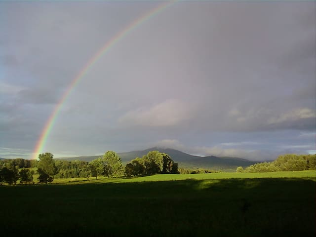 Rainbow over Spruce Mountain from our front yard