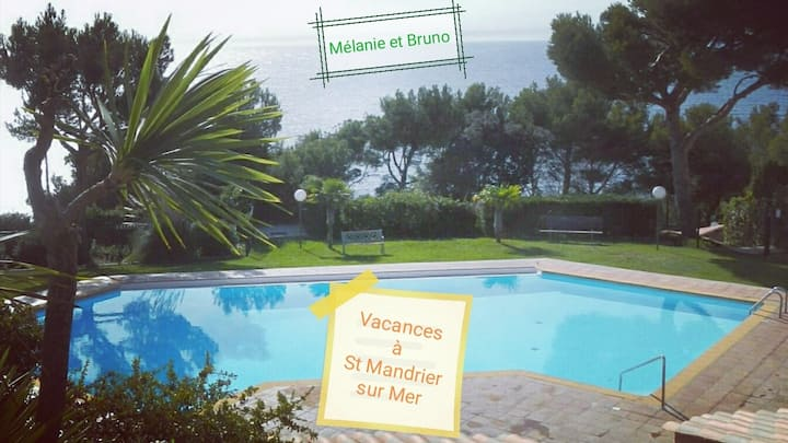 Vacances avec piscine et mer à St Mandrier sur Mer