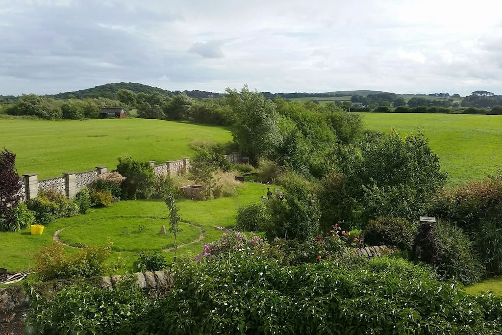 View from the bathroom - our garden and neighbouring fields