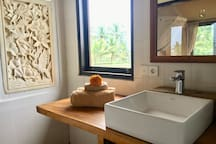 Bathroom with separate bath and shower - hot & cold water