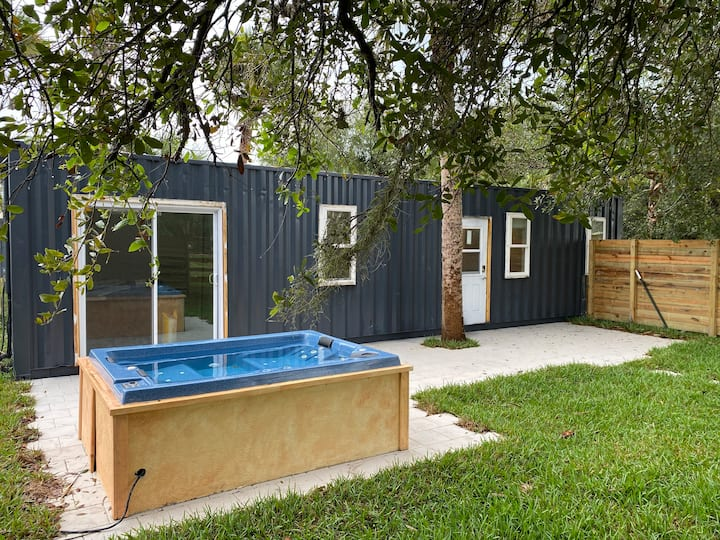 Container Home with Tropical Garden Patio