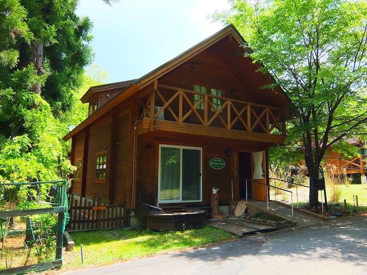 京都『るり渓』のせせらぎが魅力の別天地 貸切り憧れのログハウスに宿泊(C-104棟)小学生未満無料!