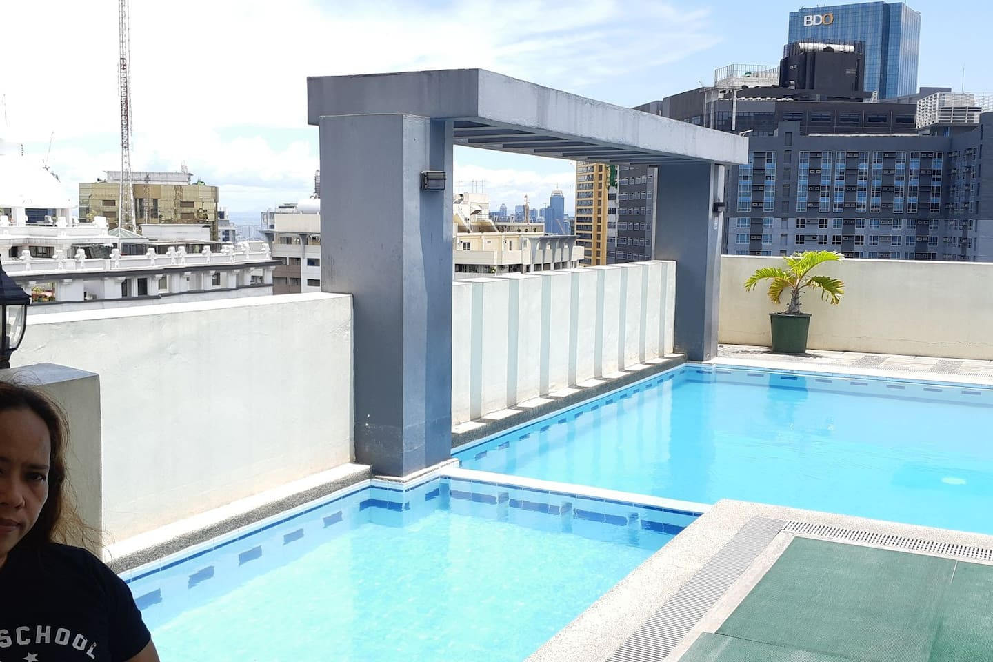 at the penthouse of the building were the pool and gym are located