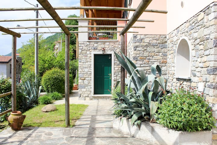The entrance of the house and the garden.
