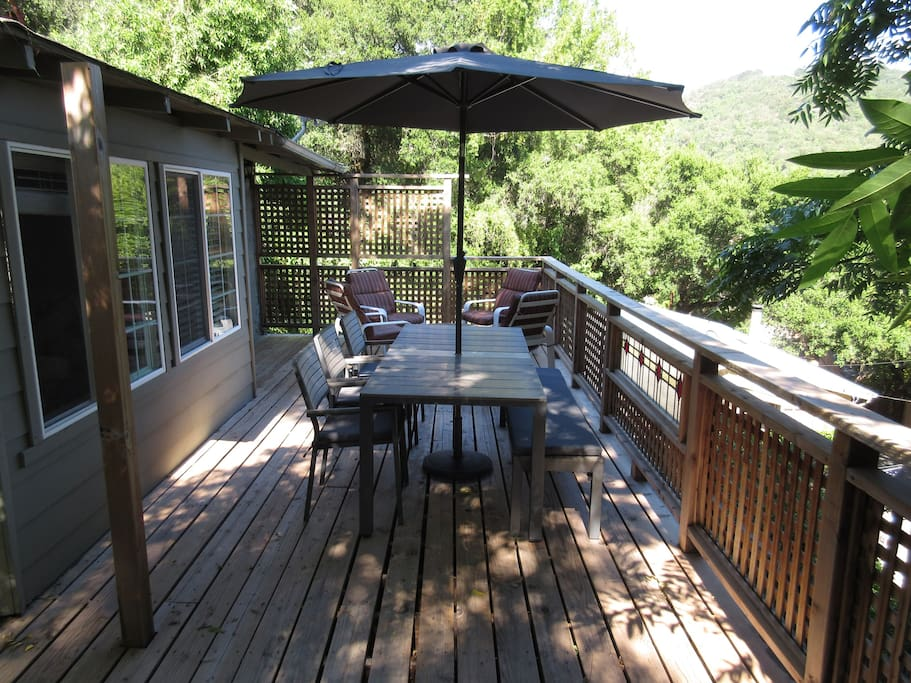 Front patio with filtered views of the Russian River