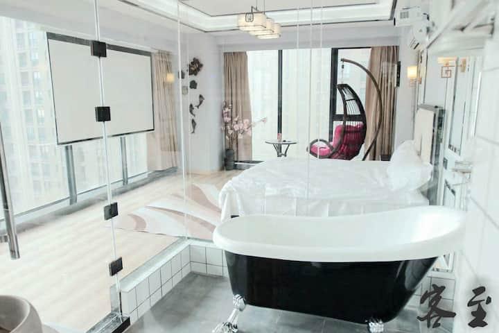 [古典的留声机]中环城新中式投影浴缸中式风房间