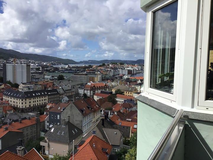 Lekker leilighet med panoramautsikt over Bergen by