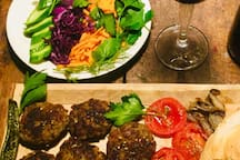 - köfte  is a typical Turkish dish.  Meatballs and side dish