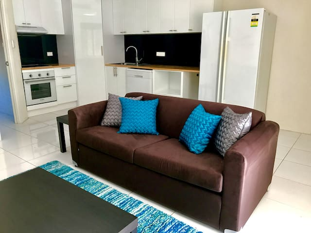 This double sofa bed allows room for 4 people in the apartment.