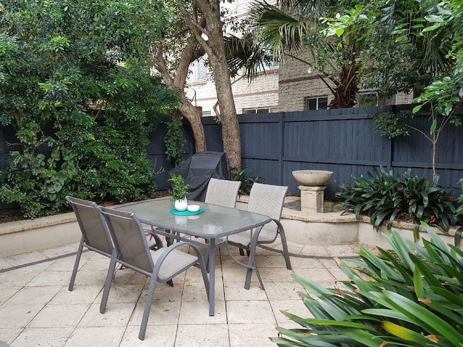 Great private backyard with bbq