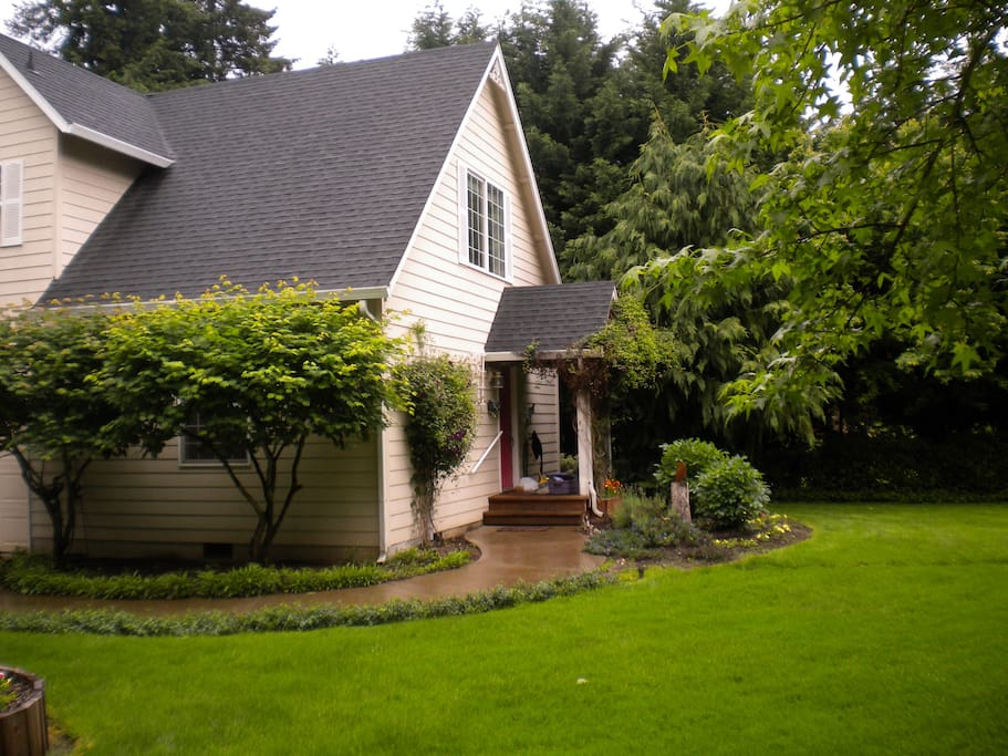 As in a traditional carriage house, the main living space is upstairs.  The second bedroom & half bath are downstairs.