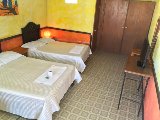 Habitación Doble, hasta para 4 personas. Baño completo. TV. Wi-Fi.