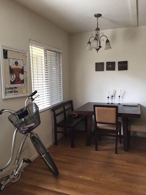 Dining Room with a Cruiser Bike available to use