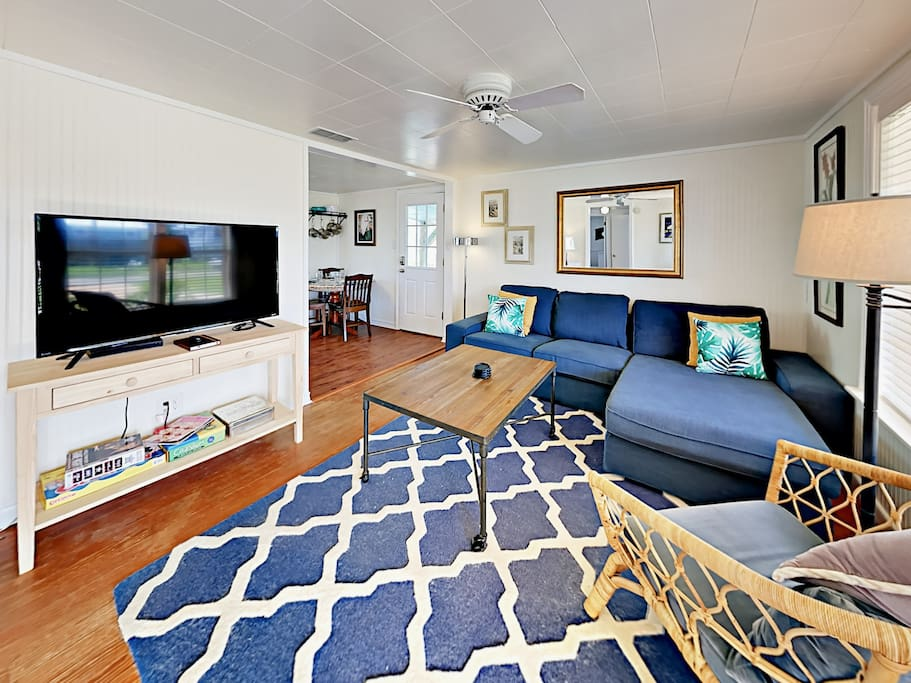 Newly remodeled and refurnished home with a delightful beachy feel.