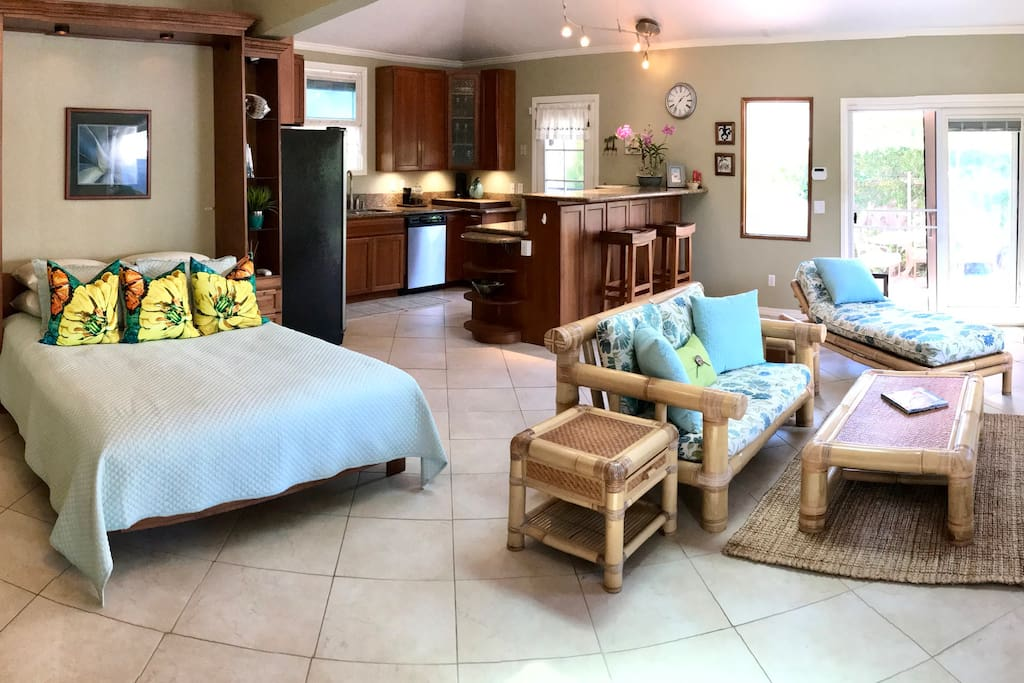 Bed and living area with double doors to lanai and BBQ.
