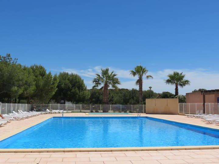 T2/3 résidence standing + piscine à 150m de la mer
