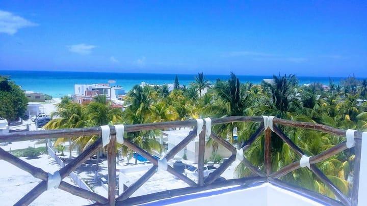 Penthouse con Increíble beachview Chicxulub Puerto