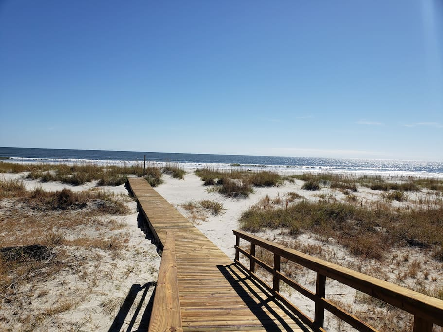 This boardwalk is just a short walk from the end of the driveway. It was replaced in 2018 and provides for easy access to the white powdery sand beach.