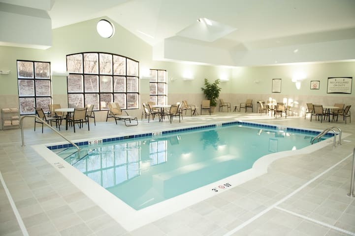 Equipped King Suite | 24h Fitness Center, Indoor Pool + Shared Hot Tub