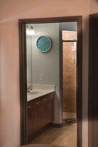 Master bathroom w/stand up shower and double sinks