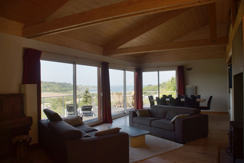 Open plan living space with sea view