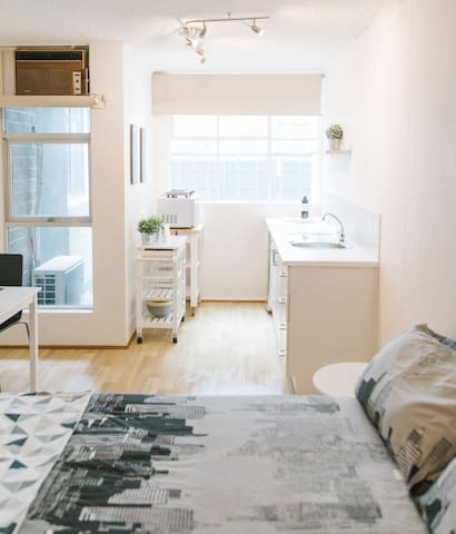 Bright, airy and with plenty of natural light - and air conditioning to keep you cool!