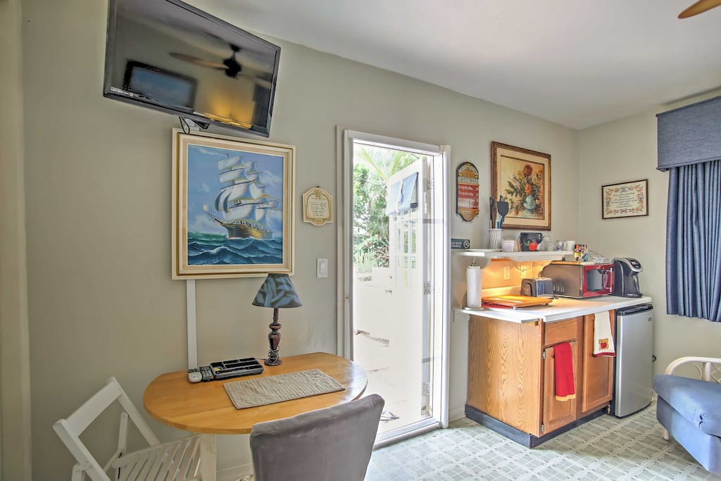 The cozy studio features everything you need for a comfortable stay.