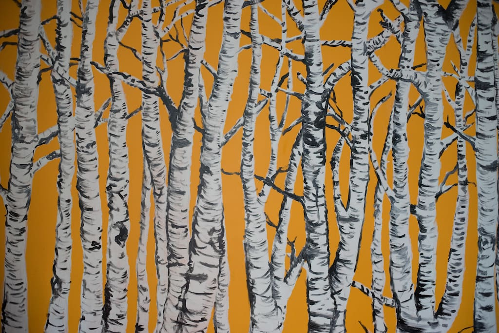 The wall- One year for my birthday, a group of friends got together and we painted this white birch scene.