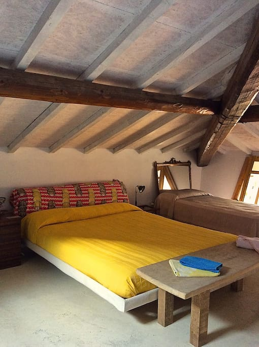 second floor open space double bed and single bed