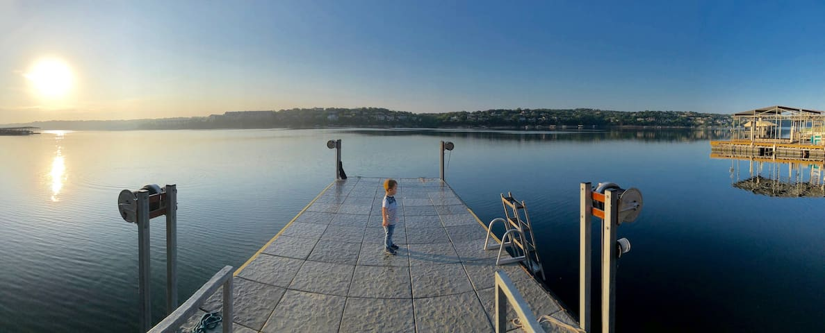 Cool dock/swim platform in the back of the house.   This is the deepest part of Lake Travis.