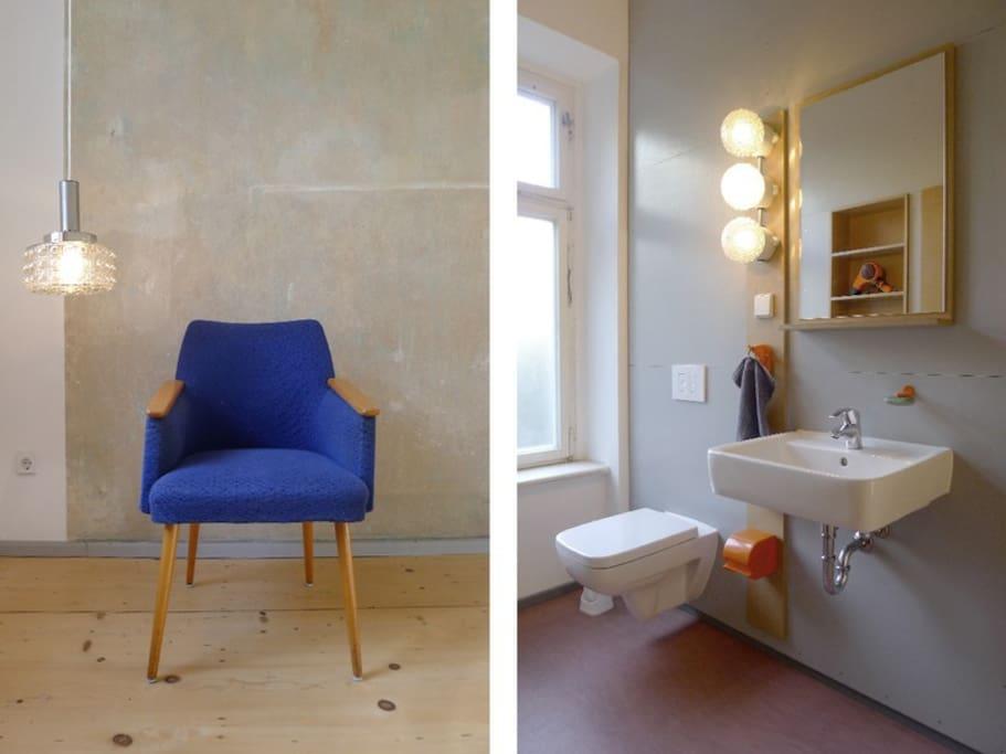 """auf dem rechten foto ist das 1. bad zu sehen mit """"wasser aus wand""""  auch wahlweise von oben (decke) :-) das linke bild hat aber auch was!"""